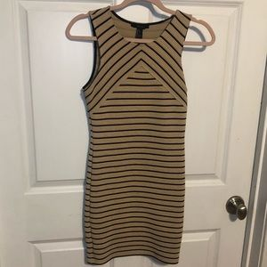 Forever 21 Tan & Black Striped Body Con Dress
